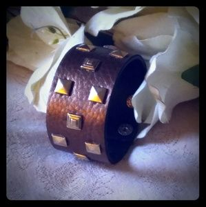 Vintage Leather & Brass Wide Cuff Bracelet